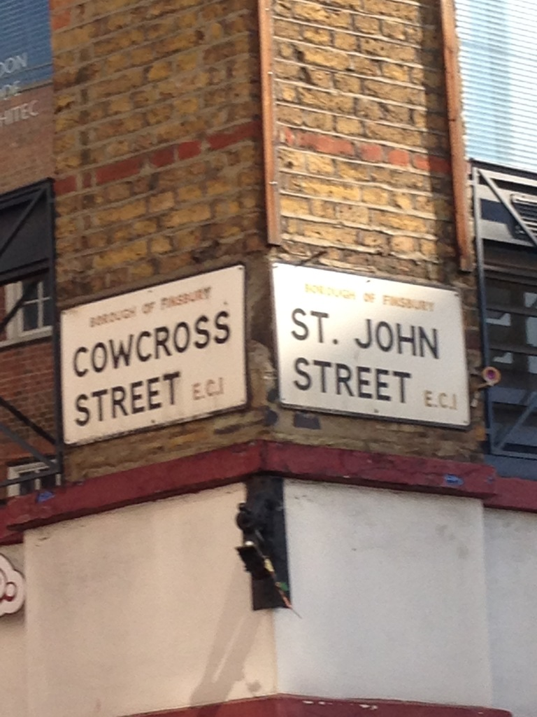 The meeting point of St John's Street and Cowcross Street, a market meeting the drovers' route